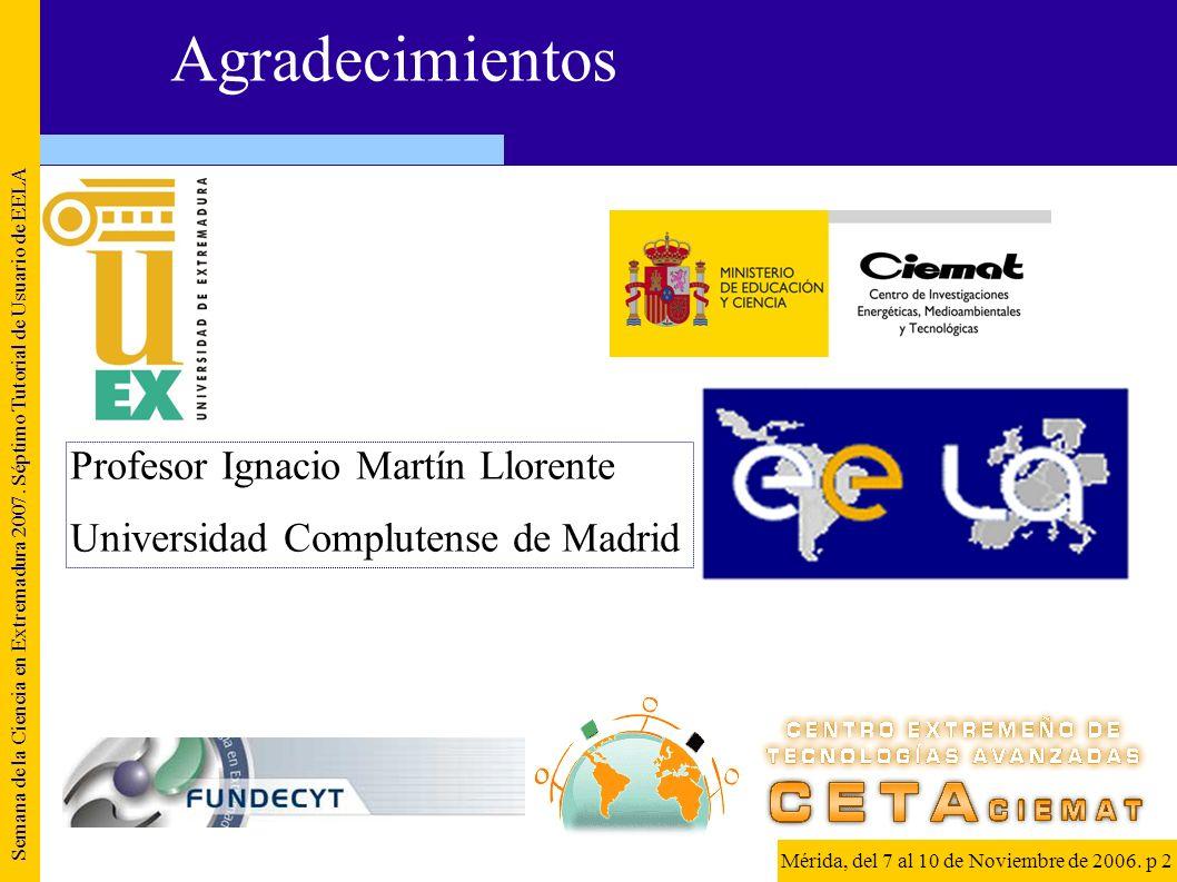 Agradecimientos Semana de la Ciencia en Extremadura 2007. Séptimo Tutorial de Usuario de EELA Mérida, del 7 al 10 de Noviembre de 2006. p 2 Profesor I