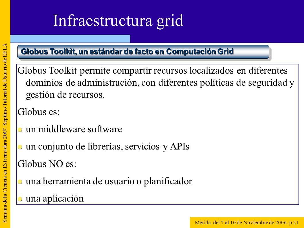 Semana de la Ciencia en Extremadura 2007. Séptimo Tutorial de Usuario de EELA Mérida, del 7 al 10 de Noviembre de 2006. p 21 Infraestructura grid Glob