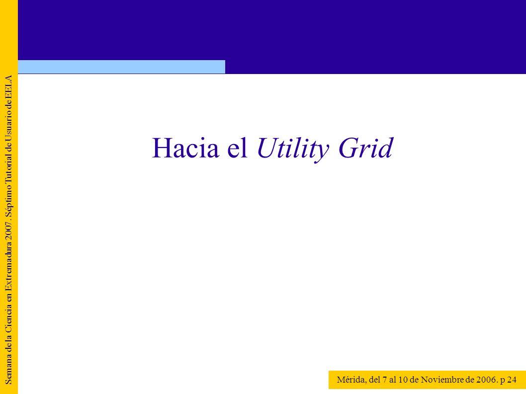 Semana de la Ciencia en Extremadura 2007. Séptimo Tutorial de Usuario de EELA Mérida, del 7 al 10 de Noviembre de 2006. p 24 Hacia el Utility Grid