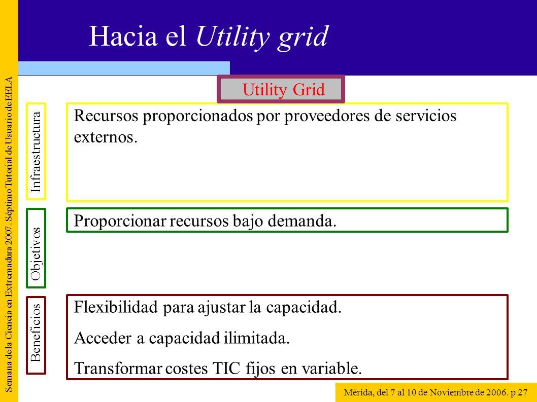 Recursos proporcionados por proveedores de servicios externos. Semana de la Ciencia en Extremadura 2007. Séptimo Tutorial de Usuario de EELA Mérida, d