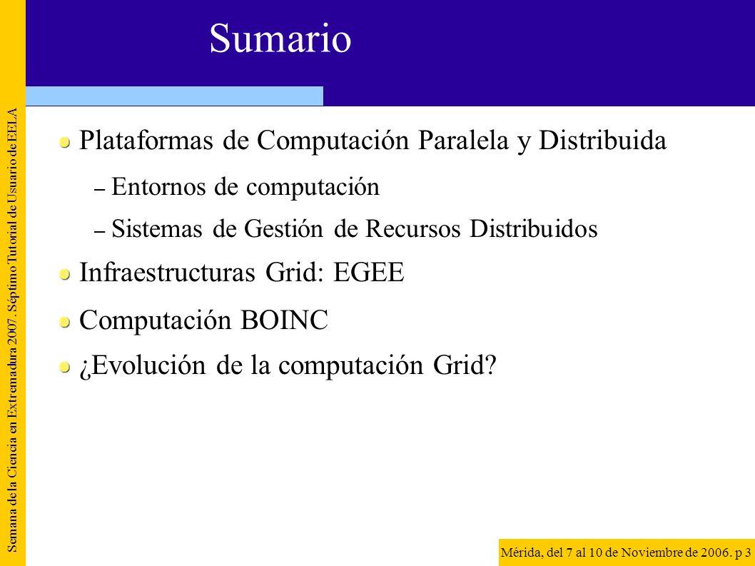 Objetivos de la presentación Describir la tecnología existente para gestionar recursos distribuidos dentro de una organización Definir infraestructura Grid Describir las componentes mínimas para desplegar infraestructuras Grid Mostrar ejemplos de infraestructuras Grid y aplicaciones Semana de la Ciencia en Extremadura 2007.