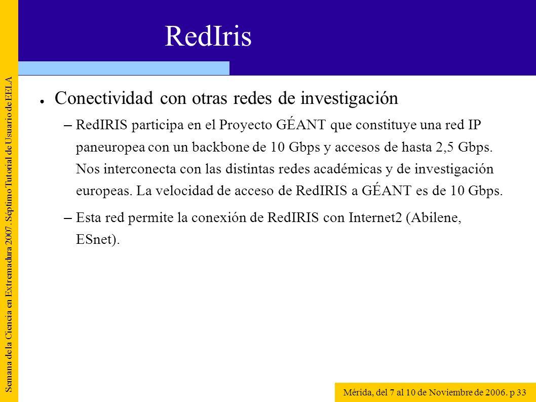 Conectividad con otras redes de investigación – RedIRIS participa en el Proyecto GÉANT que constituye una red IP paneuropea con un backbone de 10 Gbps
