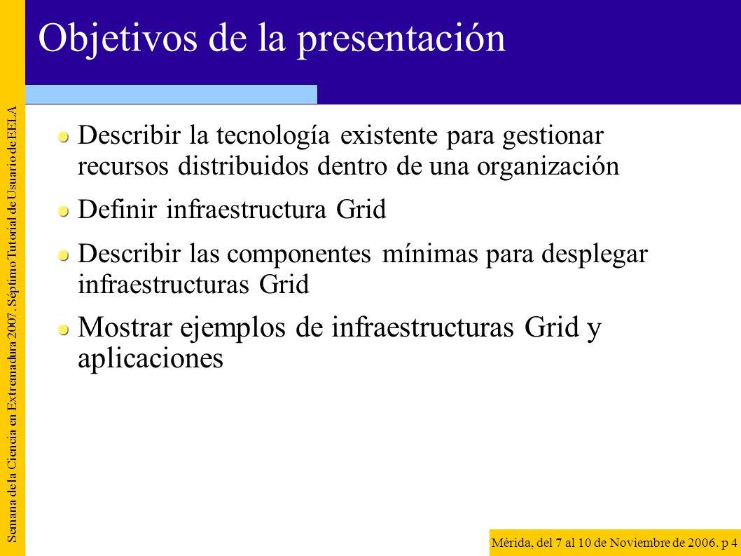 Objetivos de la presentación Describir la tecnología existente para gestionar recursos distribuidos dentro de una organización Definir infraestructura