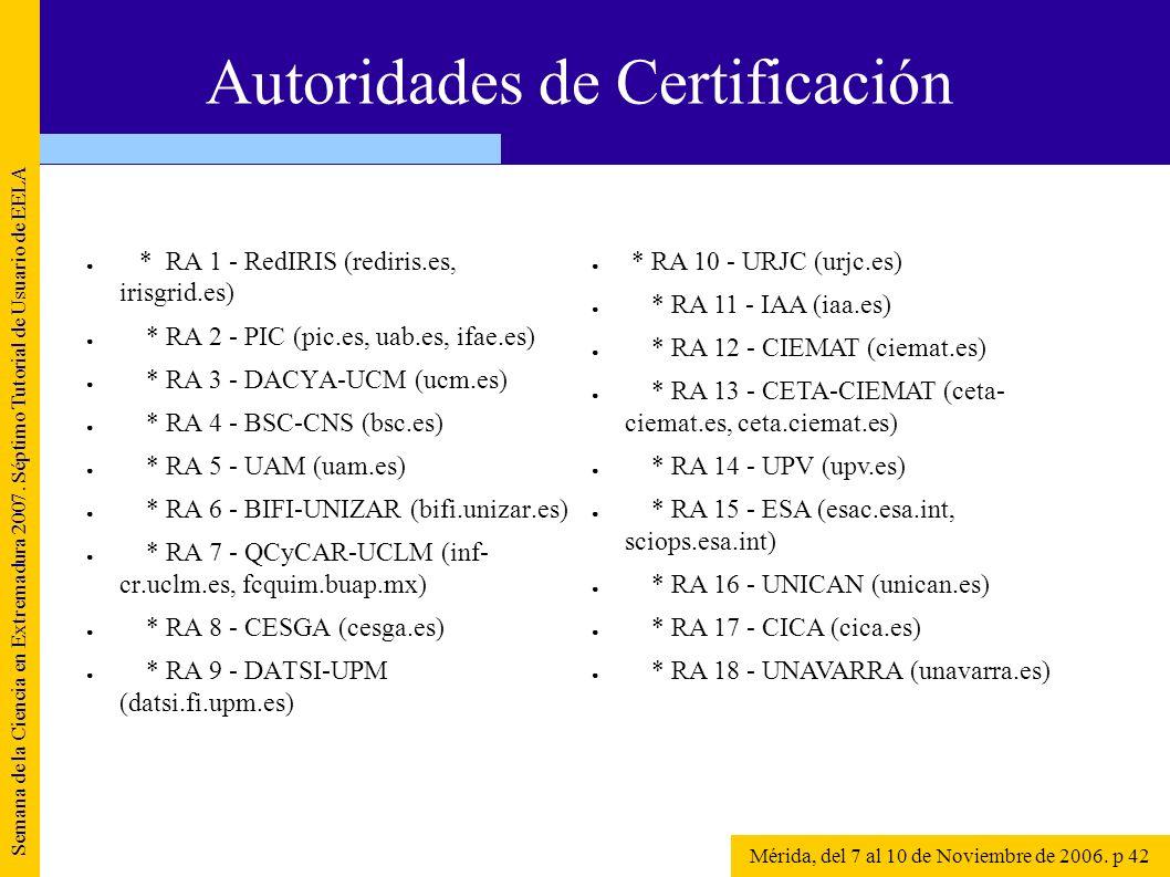 * RA 1 - RedIRIS (rediris.es, irisgrid.es) * RA 2 - PIC (pic.es, uab.es, ifae.es) * RA 3 - DACYA-UCM (ucm.es) * RA 4 - BSC-CNS (bsc.es) * RA 5 - UAM (