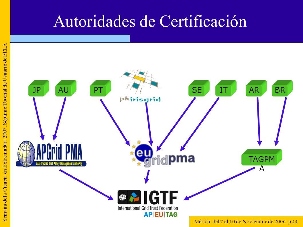 Semana de la Ciencia en Extremadura 2007. Séptimo Tutorial de Usuario de EELA Mérida, del 7 al 10 de Noviembre de 2006. p 44 Autoridades de Certificac
