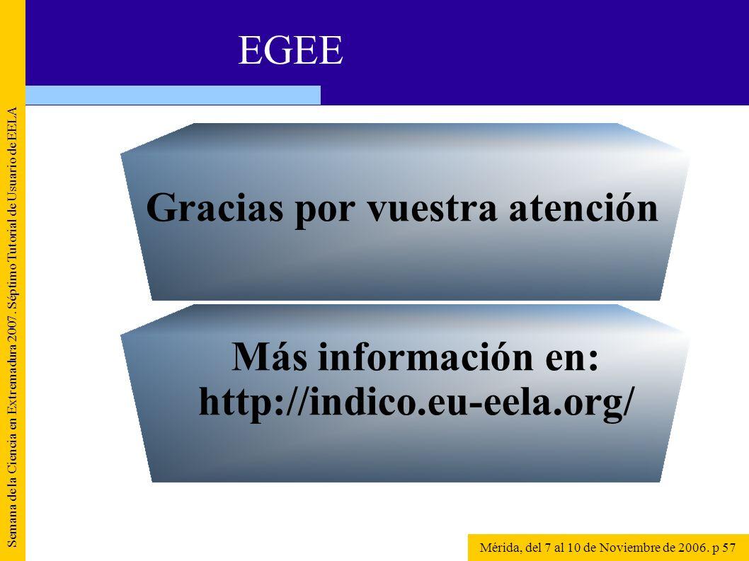 Semana de la Ciencia en Extremadura 2007. Séptimo Tutorial de Usuario de EELA Mérida, del 7 al 10 de Noviembre de 2006. p 57 EGEE Más información en: