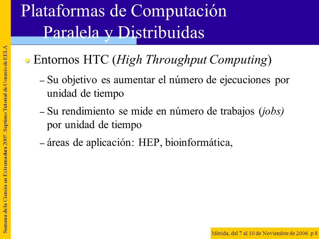 Entornos HTC (High Throughput Computing) – Su objetivo es aumentar el número de ejecuciones por unidad de tiempo – Su rendimiento se mide en número de