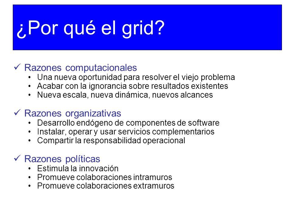 ¿Por qué el grid? Razones computacionales Una nueva oportunidad para resolver el viejo problema Acabar con la ignorancia sobre resultados existentes N