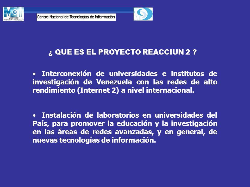 ¿ QUE ES EL PROYECTO REACCIUN 2 ? Interconexión de universidades e institutos de investigación de Venezuela con las redes de alto rendimiento (Interne