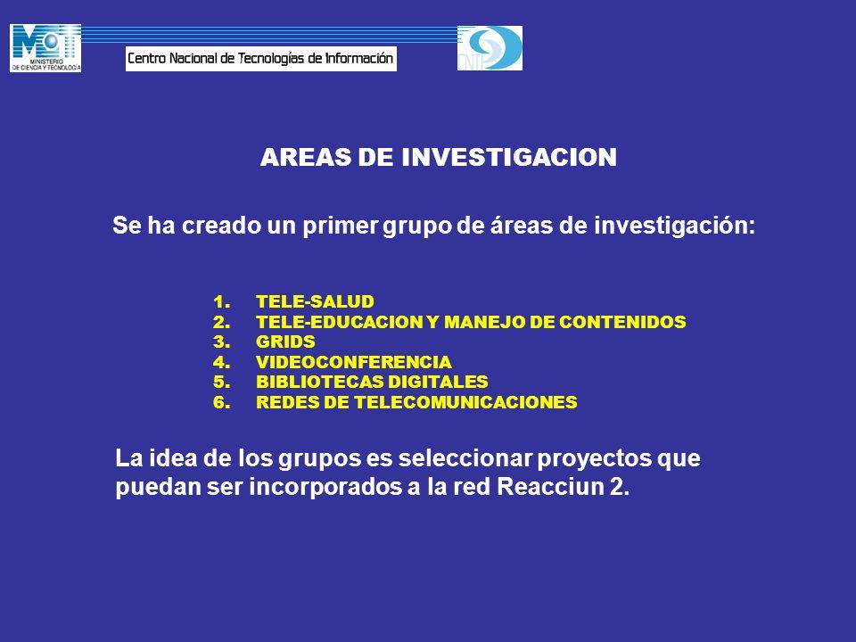 AREAS DE INVESTIGACION Se ha creado un primer grupo de áreas de investigación: 1.TELE-SALUD 2.TELE-EDUCACION Y MANEJO DE CONTENIDOS 3.GRIDS 4.VIDEOCON