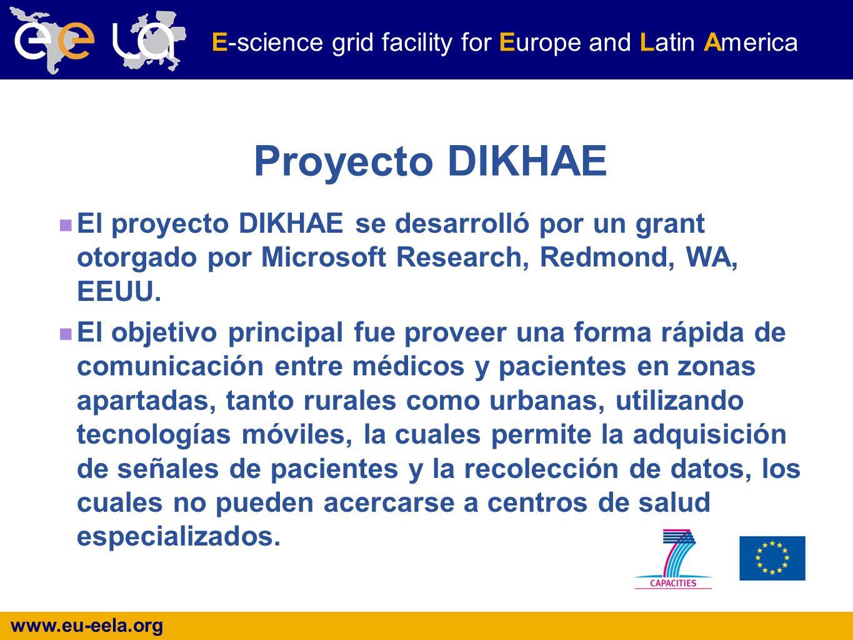 www.eu-eela.org E-science grid facility for Europe and Latin America Proyecto DIKHAE El proyecto DIKHAE se desarrolló por un grant otorgado por Microsoft Research, Redmond, WA, EEUU.