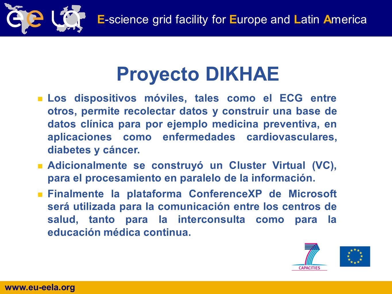 www.eu-eela.org E-science grid facility for Europe and Latin America Proyecto DIKHAE Los dispositivos móviles, tales como el ECG entre otros, permite recolectar datos y construir una base de datos clínica para por ejemplo medicina preventiva, en aplicaciones como enfermedades cardiovasculares, diabetes y cáncer.