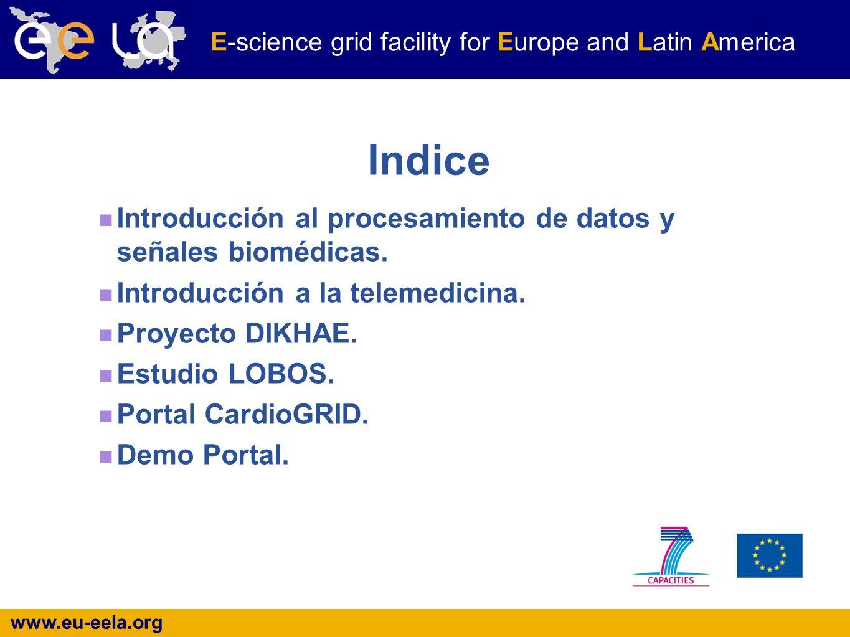 www.eu-eela.org E-science grid facility for Europe and Latin America Indice Introducción al procesamiento de datos y señales biomédicas.