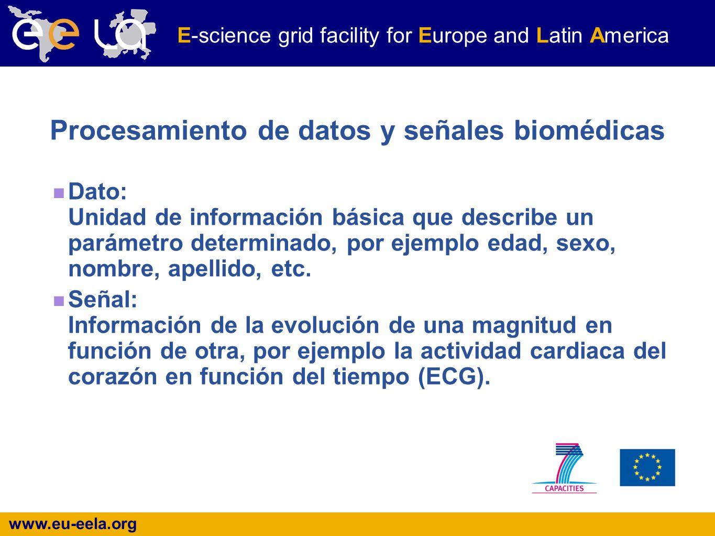 www.eu-eela.org E-science grid facility for Europe and Latin America Procesamiento de datos y señales biomédicas Dato: Unidad de información básica que describe un parámetro determinado, por ejemplo edad, sexo, nombre, apellido, etc.