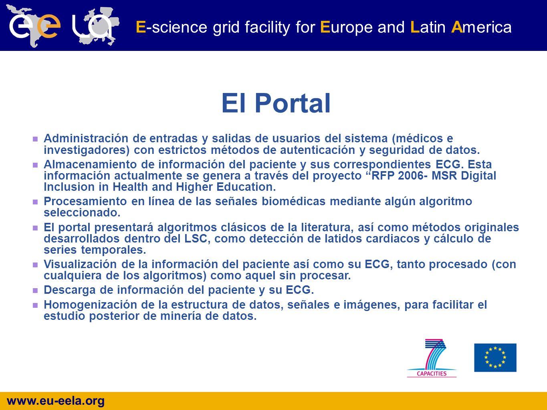 www.eu-eela.org E-science grid facility for Europe and Latin America El Portal Administración de entradas y salidas de usuarios del sistema (médicos e investigadores) con estrictos métodos de autenticación y seguridad de datos.