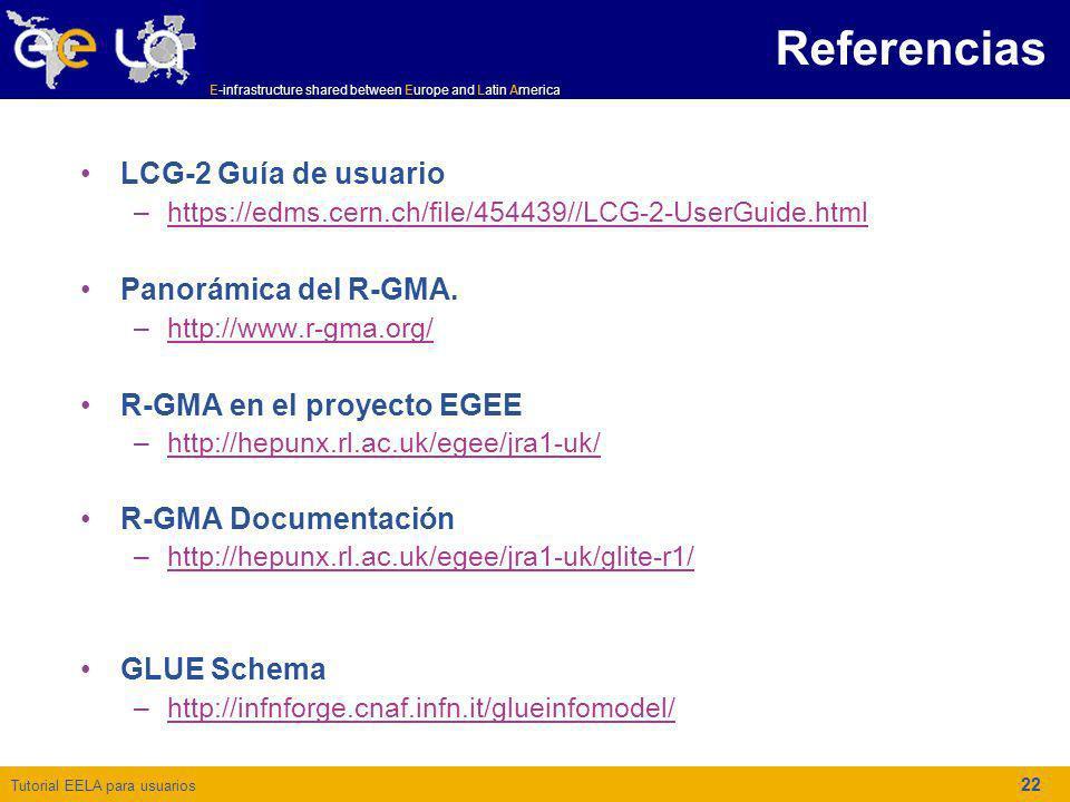 Tutorial EELA para usuarios E-infrastructure shared between Europe and Latin America 22 LCG-2 Guía de usuario –https://edms.cern.ch/file/454439//LCG-2