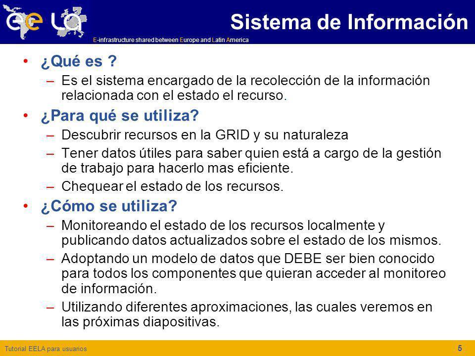 Tutorial EELA para usuarios E-infrastructure shared between Europe and Latin America 5 ¿Qué es ? –Es el sistema encargado de la recolección de la info