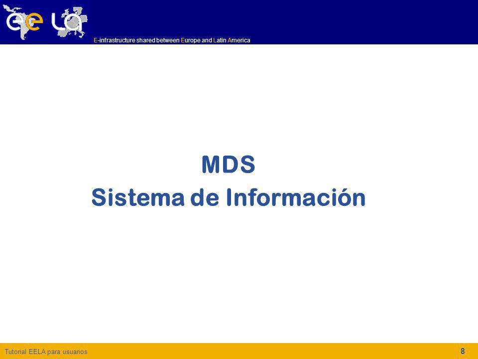 Tutorial EELA para usuarios E-infrastructure shared between Europe and Latin America 8 MDS Sistema de Información