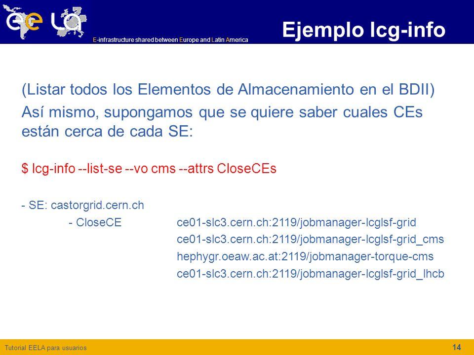 Tutorial EELA para usuarios E-infrastructure shared between Europe and Latin America 14 Ejemplo lcg-info (Listar todos los Elementos de Almacenamiento en el BDII) Así mismo, supongamos que se quiere saber cuales CEs están cerca de cada SE: $ lcg-info --list-se --vo cms --attrs CloseCEs - SE: castorgrid.cern.ch - CloseCE ce01-slc3.cern.ch:2119/jobmanager-lcglsf-grid ce01-slc3.cern.ch:2119/jobmanager-lcglsf-grid_cms hephygr.oeaw.ac.at:2119/jobmanager-torque-cms ce01-slc3.cern.ch:2119/jobmanager-lcglsf-grid_lhcb