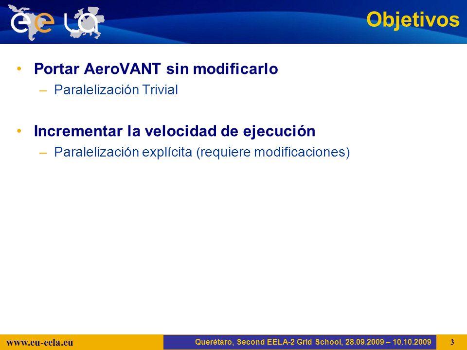 Trujillo, EELA-2 Kick-off-Meeting, 20.04.2008 14 www.eu-eela.eu #!/bin/sh # init myproxy./init-grid-m12.sh # varibles PROD=prod.vo.eu-eela.eu EXP=$1 # query to AMGA: number of jobs MDCLI=mdcli DIR=/schooldir/aerovant ANGLES=`$MDCLI selectattr $DIR/angles:Angle 1=1 | wc -l` echo $ANGLES GEOM=`$MDCLI selectattr $DIR/geometries:Geometry 1=1 | wc -l` echo $GEOM NEXEC=$[$GEOM*$ANGLES+1] # JDL generation cat jdl_template | sed s/%SETPARAMETERS%/2/ | sed s/%SETEXPERIMENT%/$EXP/ > aerovant.jdl # submit job./submitjob.sh aerovant.jdl Consulta en AMGA para obtener el número de Jobs a realizar AeroVANT.sh Querétaro, Second EELA-2 Grid School, 28.09.2009 – 10.10.2009 Iniciar MyProxy