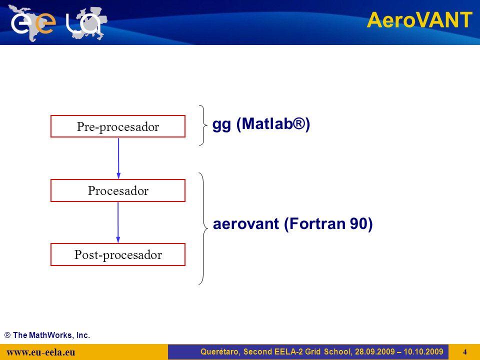 Trujillo, EELA-2 Kick-off-Meeting, 20.04.2008 5 www.eu-eela.eu AeroVANT Querétaro, Second EELA-2 Grid School, 28.09.2009 – 10.10.2009 Pre-procesador Post-procesador Procesador aerovant (Fortran 90) gg (Matlab®) ® The MathWorks, Inc.