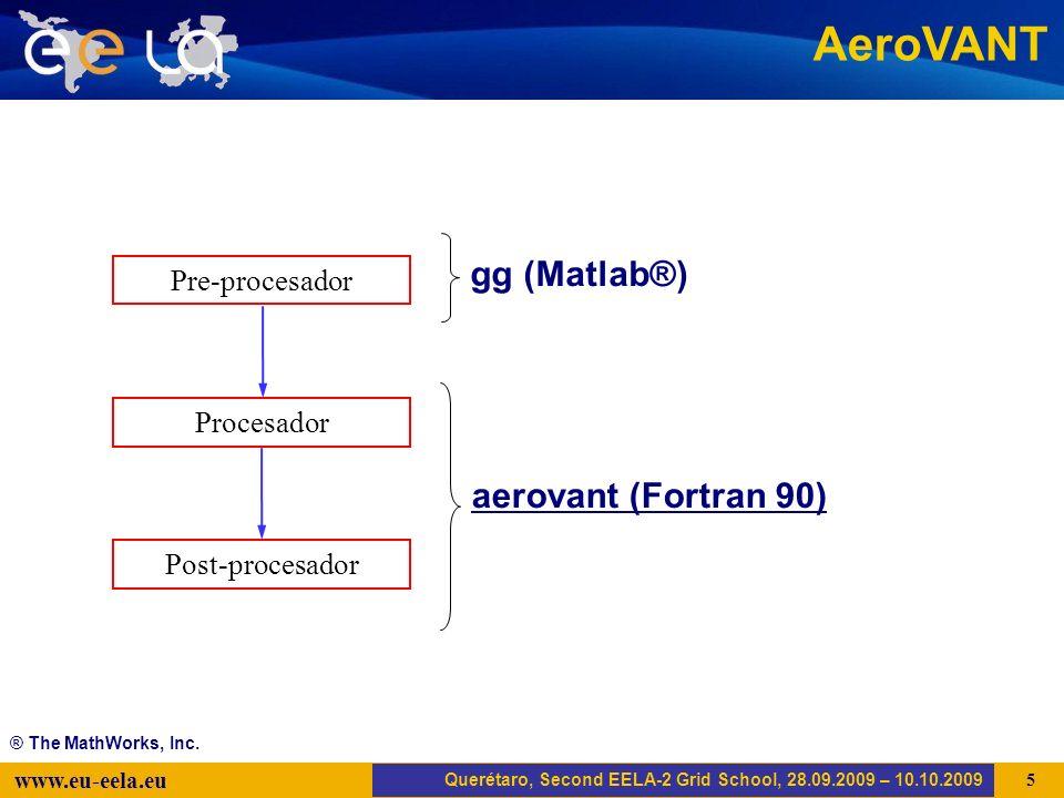 Trujillo, EELA-2 Kick-off-Meeting, 20.04.2008 6 www.eu-eela.eu AeroVANT Querétaro, Second EELA-2 Grid School, 28.09.2009 – 10.10.2009 Pre-procesador Post-procesador Procesador aerovant (Fortran 90) gg (Matlab®) ® The MathWorks, Inc.