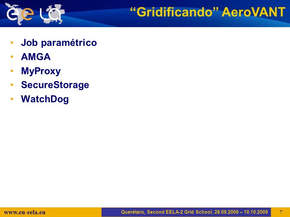 Trujillo, EELA-2 Kick-off-Meeting, 20.04.2008 18 www.eu-eela.eu AMGA Querétaro, Second EELA-2 Grid School, 28.09.2009 – 10.10.2009 AeroVANT.sh aerovant.jdl aerovant.sh...