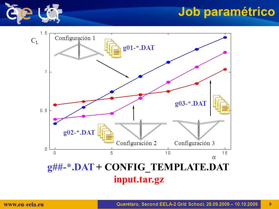 Trujillo, EELA-2 Kick-off-Meeting, 20.04.2008 9 www.eu-eela.eu Job paramétrico CLCL α Configuración 1 Configuración 2 Configuración 3 Querétaro, Second EELA-2 Grid School, 28.09.2009 – 10.10.2009 g02-*.DAT g01-*.DAT g03-*.DAT g##-*.DAT + CONFIG_TEMPLATE.DAT input.tar.gz