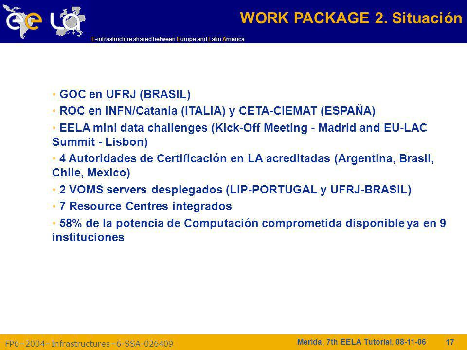 FP62004Infrastructures6-SSA-026409 E-infrastructure shared between Europe and Latin America Merida, 7th EELA Tutorial, 08-11-06 17 WORK PACKAGE 2.