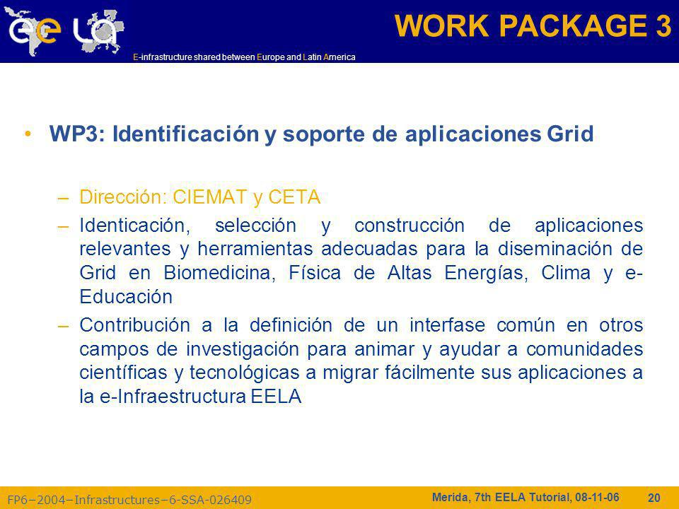 FP62004Infrastructures6-SSA-026409 E-infrastructure shared between Europe and Latin America Merida, 7th EELA Tutorial, 08-11-06 20 WP3: Identificación
