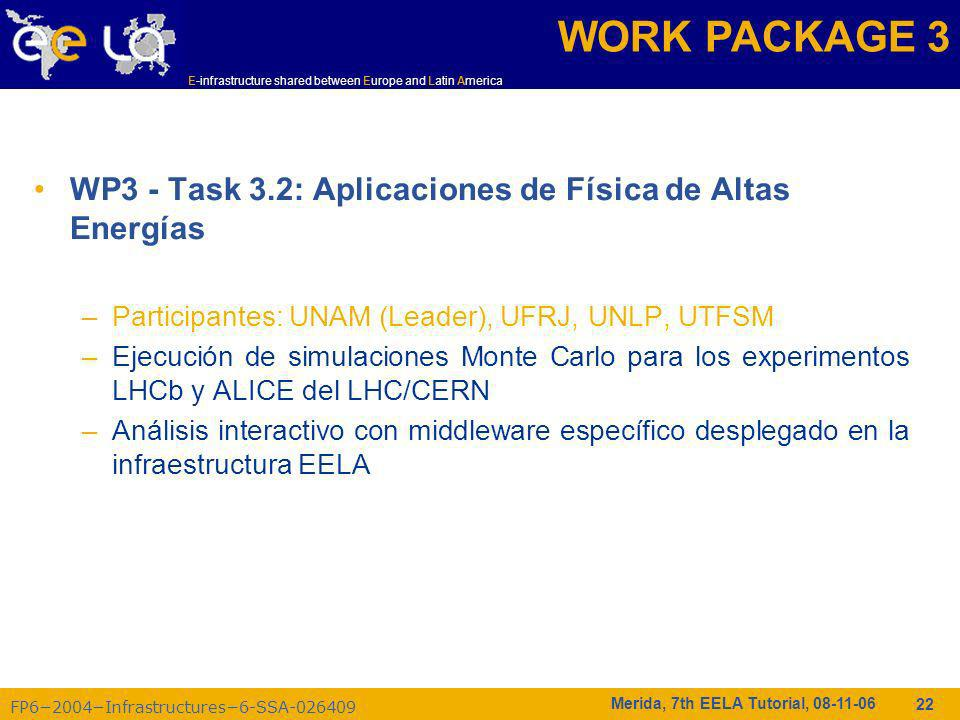 FP62004Infrastructures6-SSA-026409 E-infrastructure shared between Europe and Latin America Merida, 7th EELA Tutorial, 08-11-06 22 WP3 - Task 3.2: Apl