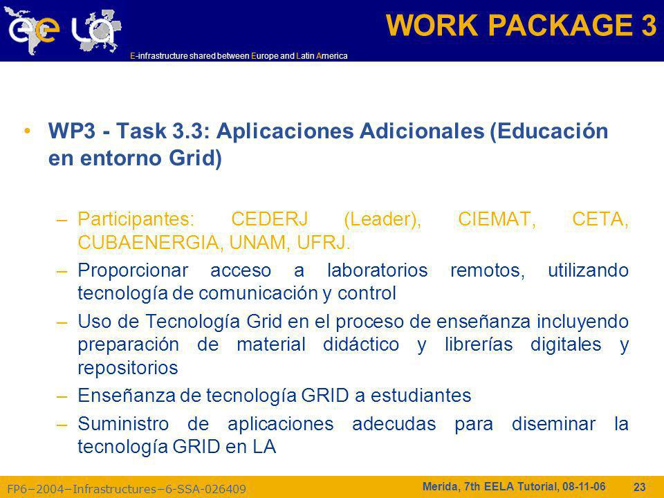 FP62004Infrastructures6-SSA-026409 E-infrastructure shared between Europe and Latin America Merida, 7th EELA Tutorial, 08-11-06 23 WP3 - Task 3.3: Apl