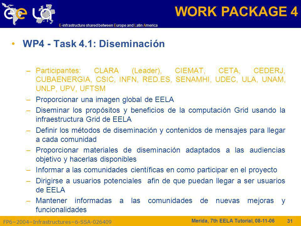 FP62004Infrastructures6-SSA-026409 E-infrastructure shared between Europe and Latin America Merida, 7th EELA Tutorial, 08-11-06 31 WP4 - Task 4.1: Dis