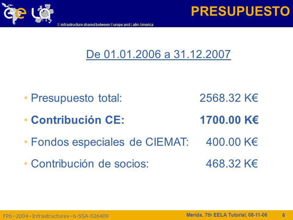 FP62004Infrastructures6-SSA-026409 E-infrastructure shared between Europe and Latin America Merida, 7th EELA Tutorial, 08-11-06 6 PRESUPUESTO De 01.01