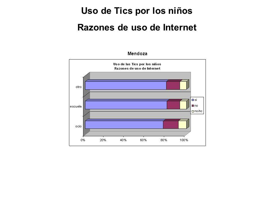 Mendoza Uso de Tics por los niños Razones de uso de Internet