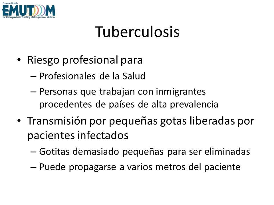 Tuberculosis Riesgo profesional para – Profesionales de la Salud – Personas que trabajan con inmigrantes procedentes de países de alta prevalencia Tra