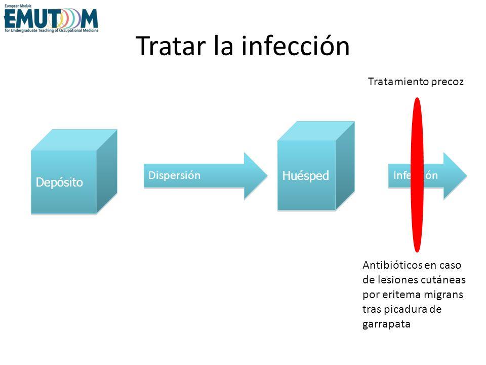 Tratar la infección Antibióticos en caso de lesiones cutáneas por eritema migrans tras picadura de garrapata Depósito Huésped Dispersión Infección Tra