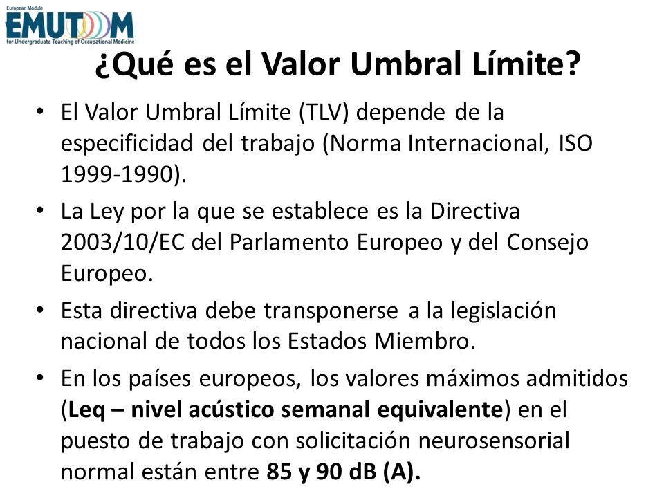 ¿Qué es el Valor Umbral Límite? El Valor Umbral Límite (TLV) depende de la especificidad del trabajo (Norma Internacional, ISO 1999-1990). La Ley por
