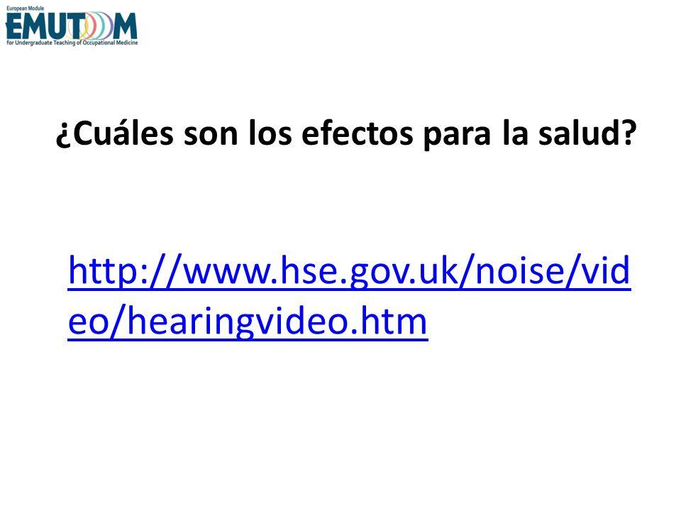 ¿Cuáles son los efectos para la salud? http://www.hse.gov.uk/noise/vid eo/hearingvideo.htm