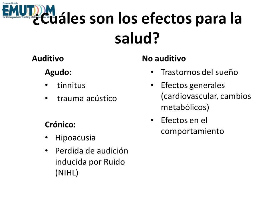 ¿Cuáles son los efectos para la salud? Auditivo Agudo: tinnitus trauma acústico Crónico: Hipoacusia Perdida de audición inducida por Ruido (NIHL) No a