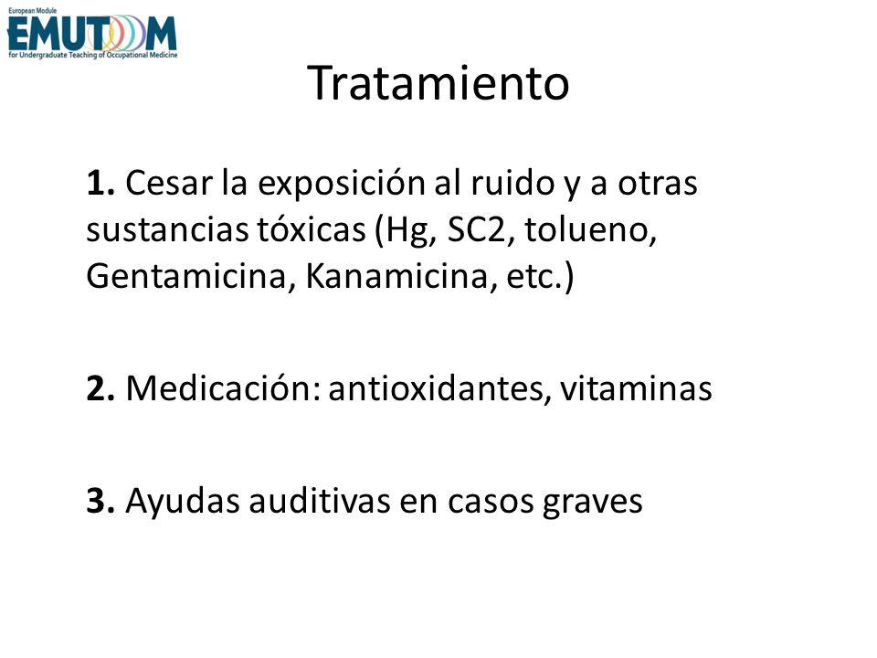 Tratamiento 1. Cesar la exposición al ruido y a otras sustancias tóxicas (Hg, SC2, tolueno, Gentamicina, Kanamicina, etc.) 2. Medicación: antioxidante