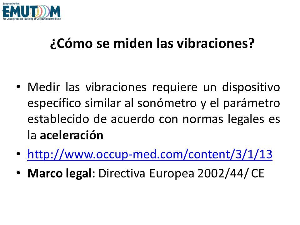 ¿Cómo se miden las vibraciones? Medir las vibraciones requiere un dispositivo específico similar al sonómetro y el parámetro establecido de acuerdo co