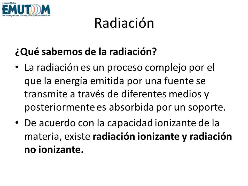 Radiación ¿Qué sabemos de la radiación? La radiación es un proceso complejo por el que la energía emitida por una fuente se transmite a través de dife