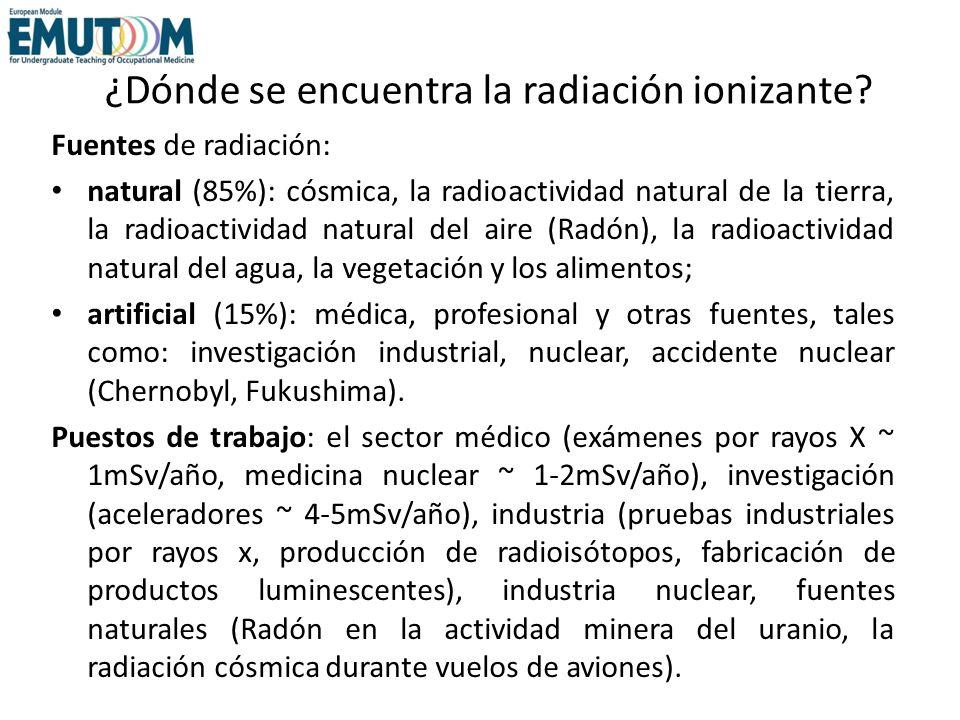 ¿Dónde se encuentra la radiación ionizante? Fuentes de radiación: natural (85%): cósmica, la radioactividad natural de la tierra, la radioactividad na