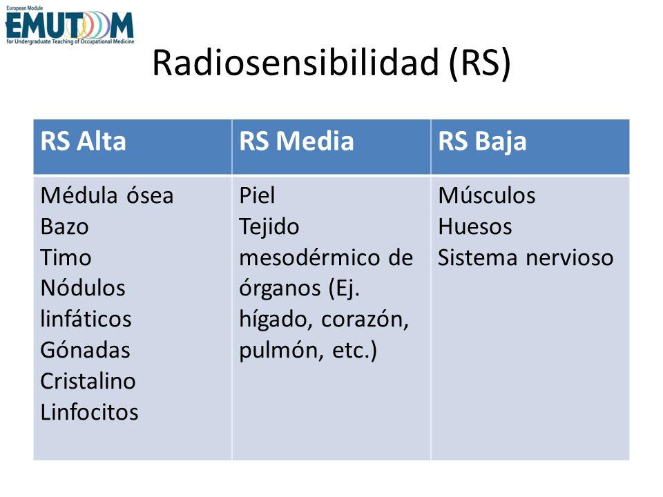 Radiosensibilidad (RS) RS AltaRS MediaRS Baja Médula ósea Bazo Timo Nódulos linfáticos Gónadas Cristalino Linfocitos Piel Tejido mesodérmico de órgano