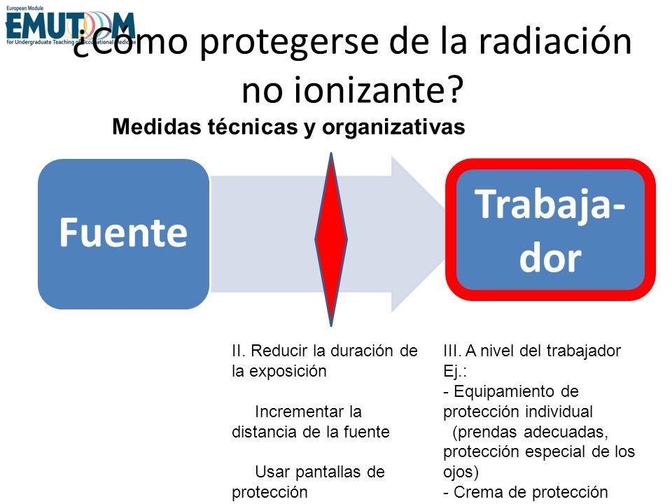 ¿Cómo protegerse de la radiación no ionizante? Fuente Medidas técnicas y organizativas Trabaja- dor III. A nivel del trabajador Ej.: - Equipamiento de