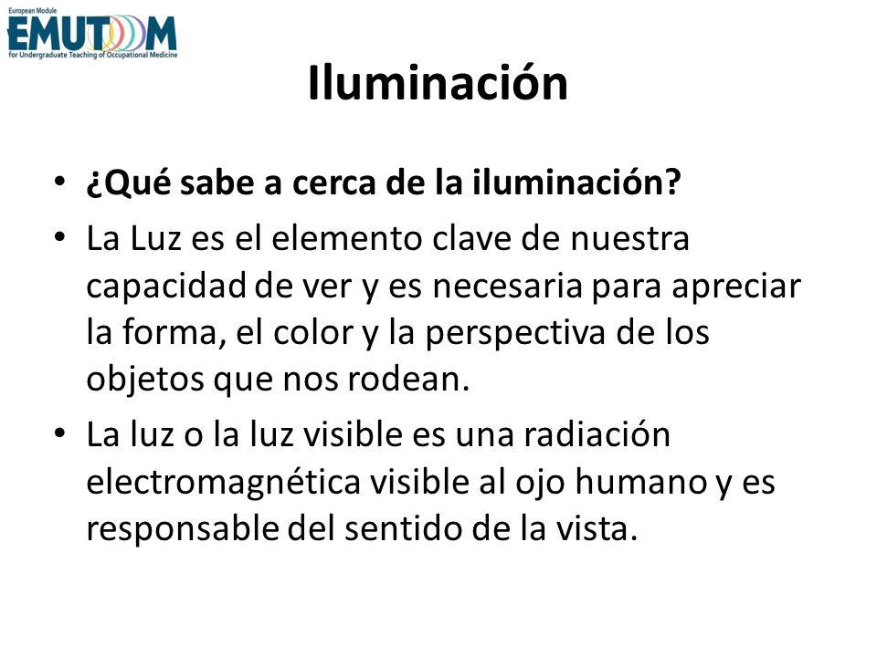 Iluminación ¿Qué sabe a cerca de la iluminación? La Luz es el elemento clave de nuestra capacidad de ver y es necesaria para apreciar la forma, el col
