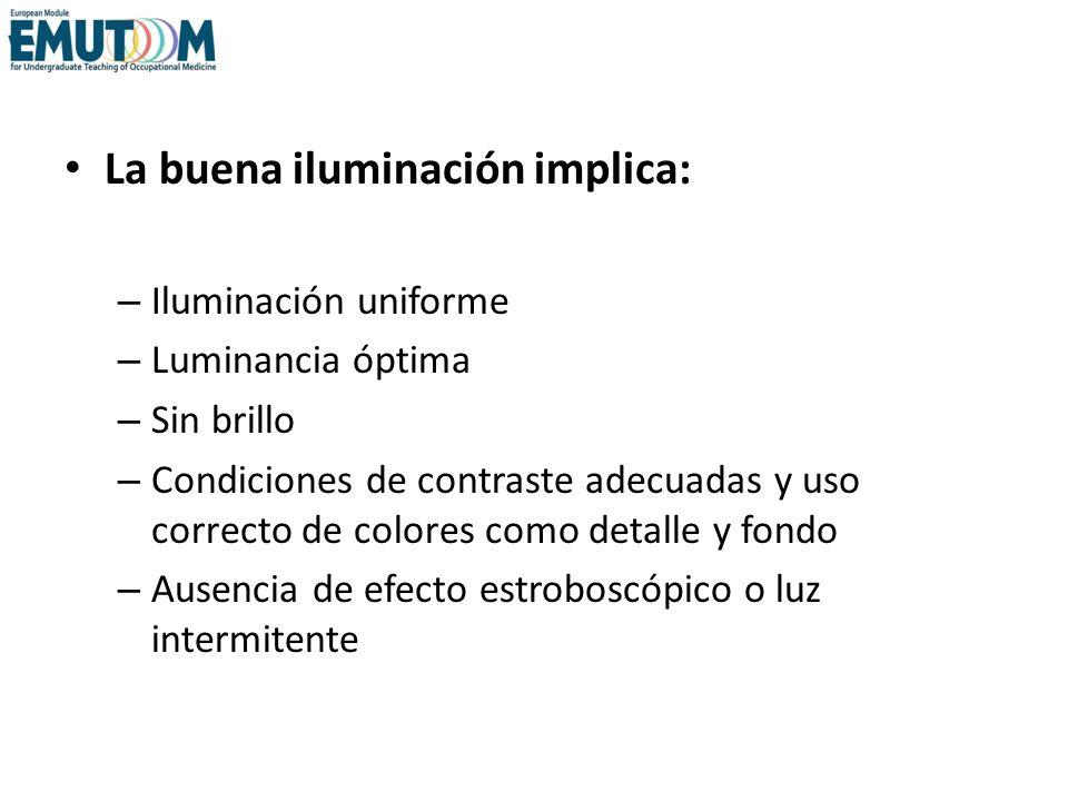 La buena iluminación implica: – Iluminación uniforme – Luminancia óptima – Sin brillo – Condiciones de contraste adecuadas y uso correcto de colores c