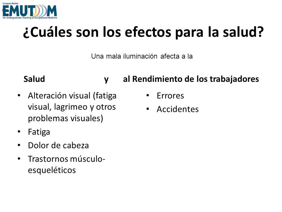 ¿Cuáles son los efectos para la salud? Salud y Alteración visual (fatiga visual, lagrimeo y otros problemas visuales) Fatiga Dolor de cabeza Trastorno