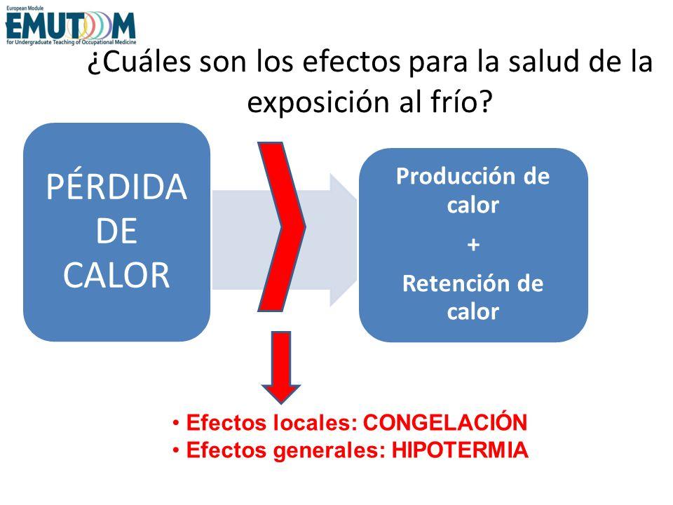 ¿Cuáles son los efectos para la salud de la exposición al frío? PÉRDIDA DE CALOR Efectos locales: CONGELACIÓN Efectos generales: HIPOTERMIA Producción